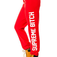 The Supreme Bitch Sweatpants in Red and White