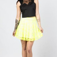 Neon Yellow Floral Lace Skater Skirt