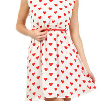 Valentine's Day New Boutique Women's Red Heart Print Dress w Belt - S M L
