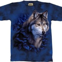 The Mountain Wolf In Blue Foliage T-shirt