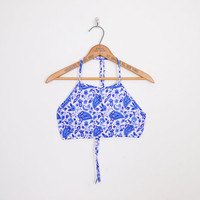 Blue Paisley Top Paisley Print Top Crop Top Tank Top Halter Top India Top Festival Top Backless 70s Hippie Top Boho Top XS Extra Small S