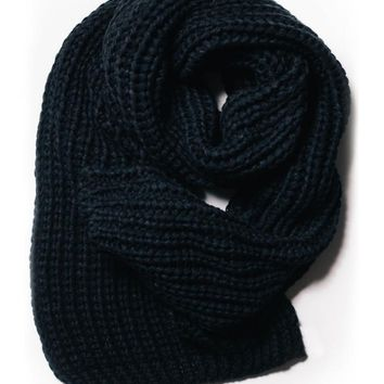 Black Chunky Knit Long Scarf