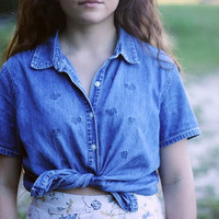Denim Jean Shirt Short Sleeve Tie Up Top