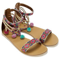 Monsoon | accssandals | Carrie Pom Pom Anklet Sandals