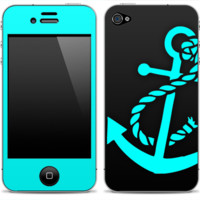 Solid Black and Turquoise Anchor Skin for the iPhone 3gs, 4/4s, 5, 5s or 5c - iPhone
