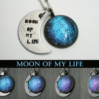 "Game of Thrones Inspired ""Moon of My Life"" Color Shifting Antique Silver Hand Stamped Necklace"