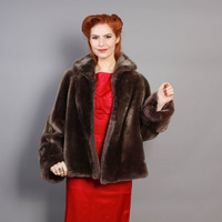 50s Cropped LAMB Fur COAT / Soft Grey Swing Jacket, Plaid Taffeta Lining, s - m