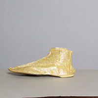 1960s GOLD Metallic SLIPPERS / Genie Bootie Shoes, 8