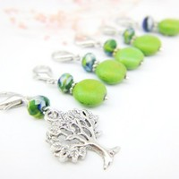 Fresh meadow green tree removable stitch markers knit crochet charms | LittleApples - Knitting on ArtFire