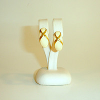 Vintage Gold Tone Enameled Earrings, Teardrop Shape with Swirls, 1980's Estate Jewelry, Post Back,