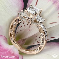 20k Rose Gold Verragio Bead-Set Princess 3 Stone Engagement Ring