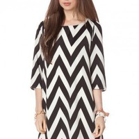 Forever Zig Zag Shift Dress in Classic- ShopSosie.com