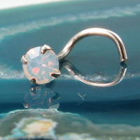 Nose Screws Nose Ring White Gold Solid 14KT 3mm White Opal. FREE Backing.