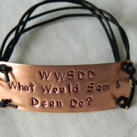 Supernatural Inspired Handstamped Bracelet 'wwsdd what would sam and dean do' Updated Design