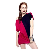 MARIALIA - Red & Black Colorblock Oversize Tee