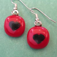 Red Black Earrings | Dangle Heart Earings | Hypoallergenic | Valentines Day Jewelry | Fused Glass Jewelry - Little Heart - 2144 -4
