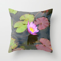 Lily Pond Throw Pillow by Bethany Mallick