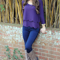 Simply Scalloped Top: Purple