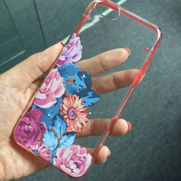 iPhone 5C case, iPhone 5S 5 case, Transparent cover, Vintage flower rose, floral clear bumper hard plastic case (E17), FREE screen protector