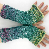 Cable knit fingerless gloves vegan aqua wrists warmers arm warmers knit fingerless mittens yellow pink teamt tagt team