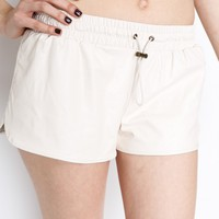 Cream PU Mini Shorts