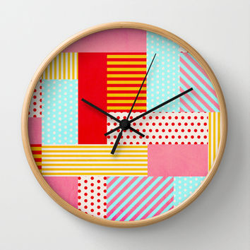 Geometric Pop Wall Clock by Louise Machado