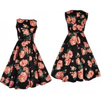 Hepburn Black & Pink Rose Floral Dress