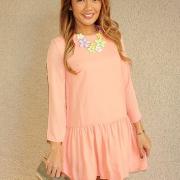 'Whitney' Drop Waist Dress (Peach)
