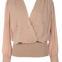 Long Sleeve Embellished Blouse - Kely Clothing