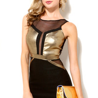 Metallic Mesh Insert Bodycon Dress