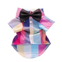 Gentle Plaid Dog Shirt Western Dog T-Shirt Dog Clothes + Dog Wedding Bow