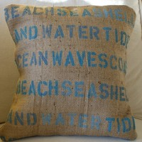 ORIGINAL Beach Cottage Pillow Cover by myadobecottage on Etsy