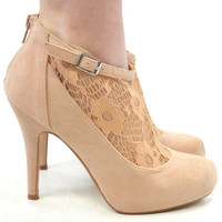 Heart Throb Nude Suede Lace Booties