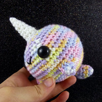 Big Narwhal - Pastel Rainbow - Ready to Ship - Amigurumi Crochet Plushie