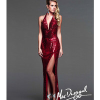 Mac Duggal 2014 Prom Dresses - Red Sequin Halter & Low Back Prom Gown