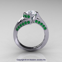 Modern French 14K White Gold 1.0 Ct White Sapphire Emerald Engagement Ring Wedding Ring R176-14KWGEMWS