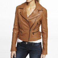 LEATHER QUILTED ACCENT MOTO JACKET