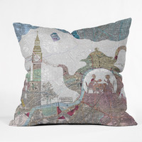 Belle13 4 O Clock Tea London Map Outdoor Throw Pillow