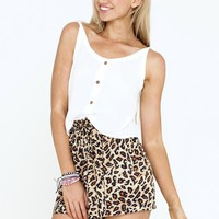 Leopard Print Elastic High Waisted Shorts