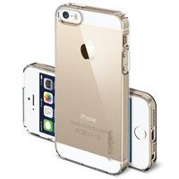 [360° PROTECTION] Spigen iPhone 5S Case Slim [Ultra Fit] [Crystal Shell] *VALUE PACK* *JAPANESE BASE PET FILM* Premium Clear Screen Protector + Premium Clear Hard Case - ECO-Friendly Packaging - Slim Case for iPhone 5S / 5 - Crystal Shell (SGP10647)