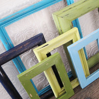 Rustic Beach Picture Frame Set Of 6 Blue Green Coastal Wall Decor