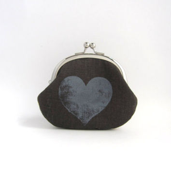 Frame Coin Purse - heart on dark brown / hearts on gray wool