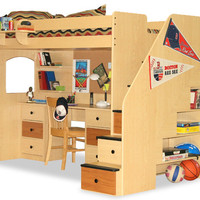 Rutgers Twin Stairway College Loft Bed