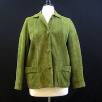 REDUCED 60s Jacket Vintage Green Suede Deerskin Beatnik M L 40