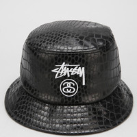 Stussy Croc Faux-Leather Bucket Hat - Urban Outfitters