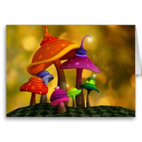 Whimsical Mushrooms Greeting / Customizable Birthday Card