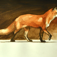 Red Fox Painting Watercolor 9x12 by BohemianHabits on Etsy