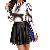 SALE-Long Sleeve Striped Crop Top