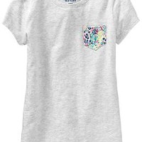 Girls Printed-Pocket Tees