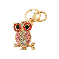 Bead Charmed Jewelry Ltd - OWL Keychain: 14k Gold plated; Pink Rhinestone